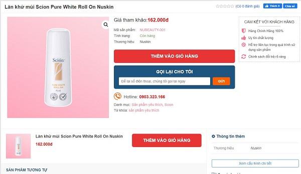 giá gợi ý khi mua lăn khử mùi scion trên Nubeauty.com.vn - Copy