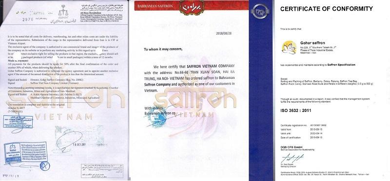 chứng nhận phân phối của Saffron Việt Nam