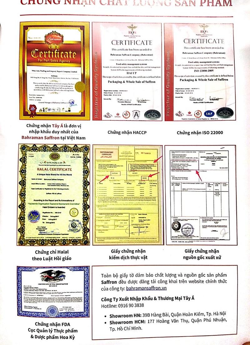 giấy chứng nhận Saffron Tây Á - Nubeauty