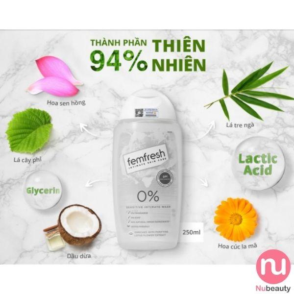 Dung dịch vệ sinh Femfresh màu trắng cho da nhạy cảm - 0% Sensitive Intimate Wash 250ml