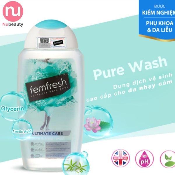 Dung dịch vệ sinh Femfresh màu xanh cho da nhạy cảm - Femfresh Pure & Fresh Wash 250ml