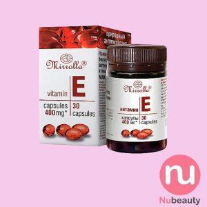 Vitamin E đỏ Mirrolla 400mg chính hãng của Nga hộp 30 viên